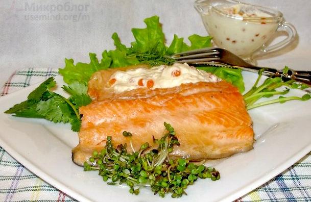 Рецепт – Форель с икорным соусом