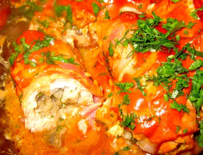 Рецепт – Куриные кармашки с грибами и мясом