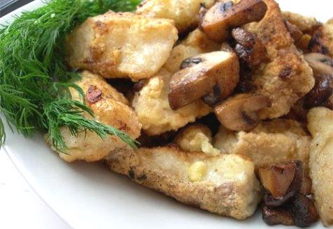 Рецепт – Филе трески в кляре с грибами