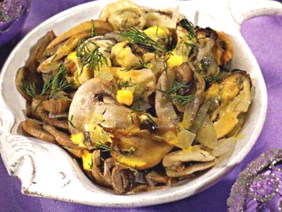 Рецепт – Мидии с грибами под соусом