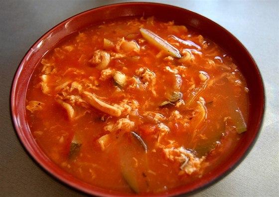 Рецепт–Томатный суп с морепродуктами