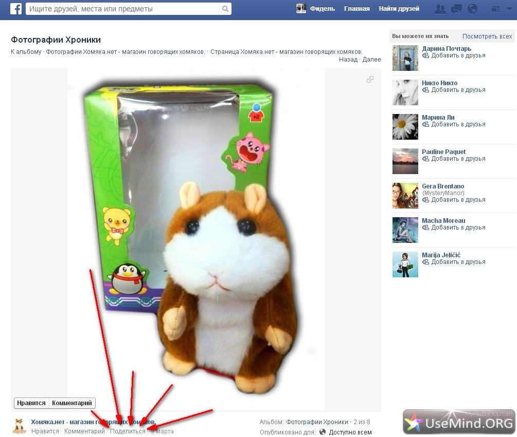 FaceBook поделиться фотографией